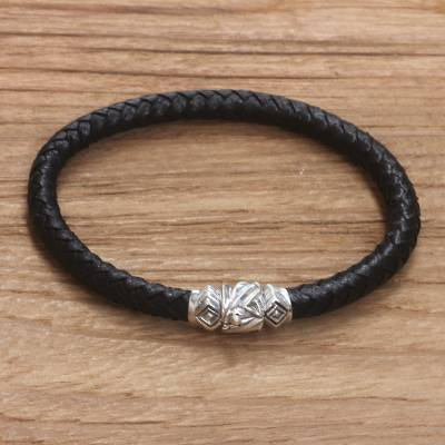 Men's sterling silver and leather braided bracelet, 'Union' - Men's Handmade Leather Braided Bracelet