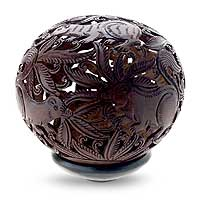 Coconut shell sculpture, 'Playful Squirrels' - Coconut shell sculpture