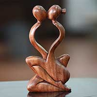 Wood sculpture, 'Endless Kiss' (Indonesia)