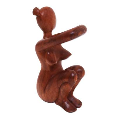 Carved Wood Wine Bottle Holder