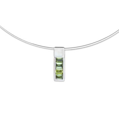 Modern Sterling Silver and Peridot Necklace