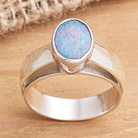 Opal solitaire ring, 'Pride' - Hand Crafted Opal and Sterling Silver Ring