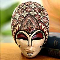 Wood batik mask, 'Prince Sun' (medium) - Fair Trade Batik Wood Mask (Medium)