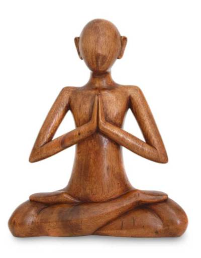 Wood sculpture, 'Meditating' - Suar Wood Meditation Sculpture