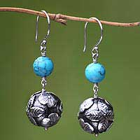 Turquoise floral earrings, 'New Hope' - Turquoise floral earrings