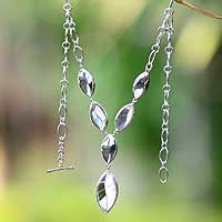Sterling silver Y necklace, 'Elegant Drops' - Modern Sterling Silver Y Necklace