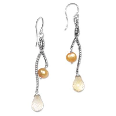 Pearl and Citrine Sterling Silver Earrings