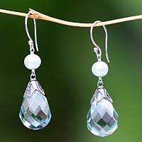 Pearl dangle earrings, Blue Heaven