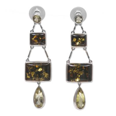 Amber and Lemon Quartz Silver Dangle Earrings