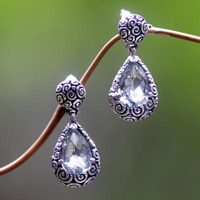 Prasiolite dangle earrings, 'Lime Teardrops' - Prasiolite Sterling Silver Dangle Earrings from Bali