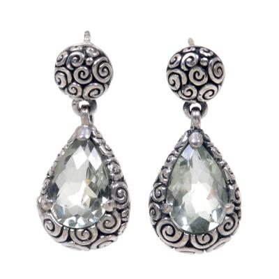 Prasiolite Sterling Silver Dangle Earrings from Bali