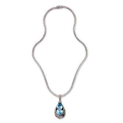 Artisan Jewelry Sterling Silver and Blue Topaz Necklace