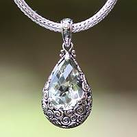 Prasiolite pendant necklace, 'Lime Teardrop' - Fair Trade Sterling Silver and Prasiolite Pendant Necklace