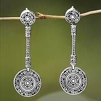 Sterling silver dangle earrings, 'Wealth of Fortune' - Artisan Crafted Sterling Silver Dangle Earrings