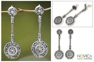 Sterling silver dangle earrings, 'Wealth of Fortune' - Artisan Crafted Sterling Silver Dangle Earrings