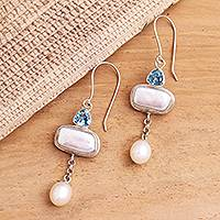 Cultured pearl and blue topaz dangle earrings, 'Allegory' - Cultured pearl and blue topaz dangle earrings