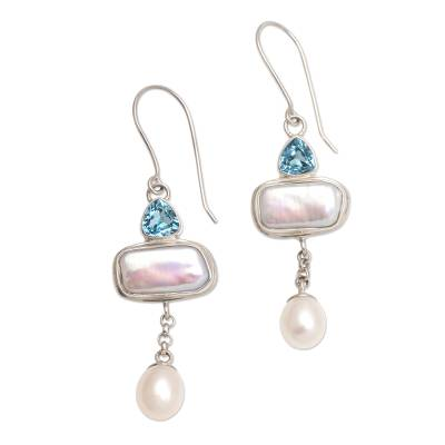 Pearl and blue topaz dangle earrings