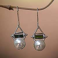 Pearl and tourmaline dangle earrings, 'Life's Joy' - Pearl and tourmaline dangle earrings