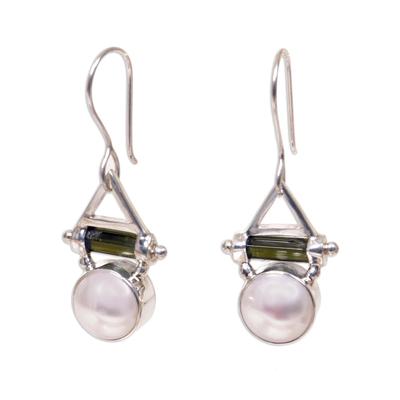 Pearl and tourmaline dangle earrings
