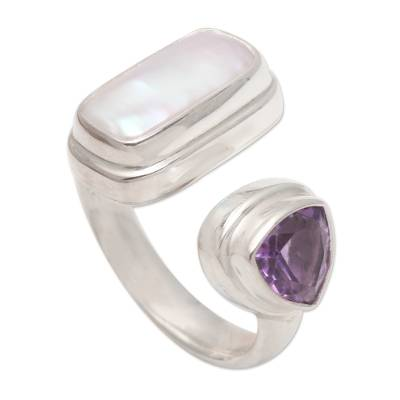 Amethyst and pearl cocktail ring, 'Two Minds' - Pearl and Amethyst Sterling Silver Ring