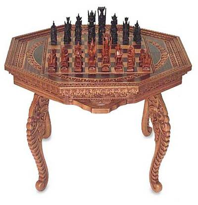 Wood chess set, 'Into Battle' - Wood chess set