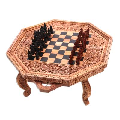 Wood chess set, 'The General' - Wood chess set
