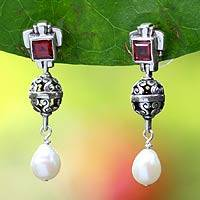Pearl and garnet dangle earrings, 'Splendor' - Pearl and garnet dangle earrings