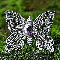 Amethyst brooch pin pendant, 'Bright Butterfly' - Amethyst Sterling Silver Brooch Pin
