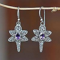 Amethyst dangle earrings, 'Baby Dragonfly' - Amethyst Sterling Silver Dangle Earrings