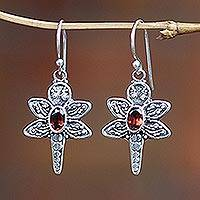 Sterling silver and garnet dangle earrings, 'Baby Dragonfly' - Unique Sterling Silver and Garnet Dangle Earrings
