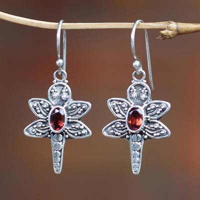 Sterling silver and garnet dangle earrings, Baby Dragonfly