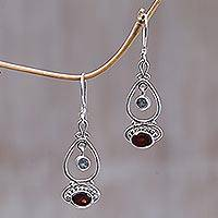 Blue topaz and garnet dangle earrings,