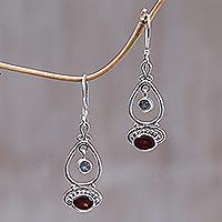 Blue topaz and garnet dangle earrings,