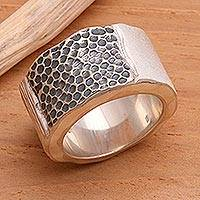 Silver band ring, 'Embrace the Earth'