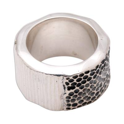 Silver band ring, 'Embrace the Earth' - Modern Sterling Silver Band Ring from Indonesia