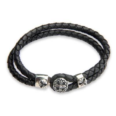 Artisan Crafted Silver and Leather Bracelet
