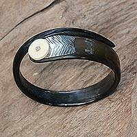 Polished cow bone and horn bangle bracelet,