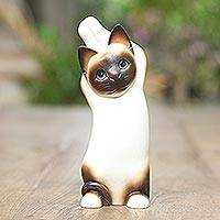 Wood statuette, 'Siamese Cat Stretch' - Wood statuette