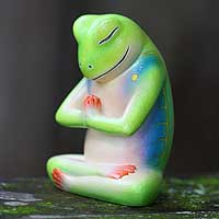 Wood sculpture, 'Froggie Prayer' - Handcrafted Wood Sculpture