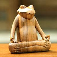 Wood sculpture, 'Frog Meditates' - Serene Meditating Frog Sculpture