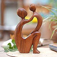 Wood statuette, 'I Adore You' - Artisan Hand Carved Mother and Child Modern Sculpture