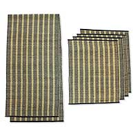 Natural fiber table runner and placemats, 'Ethnic' (set for 4) - Natural fiber table runner and placemats (Set for 4)