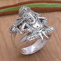 Men's sterling silver ring, 'Lord Ganesha' - Men's Sterling Silver Hindu Ring