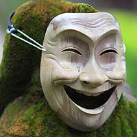 Wood mask, 'Laughter' - Modern Handmade Wood Mask