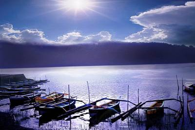 'Boats on the Lakeshore' - Seascapes Color Photograph Art