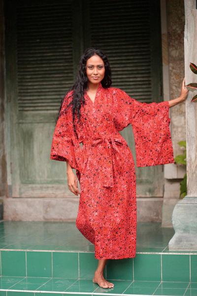 Cotton batik robe, 'Red Floral Kimono' - Cotton batik robe