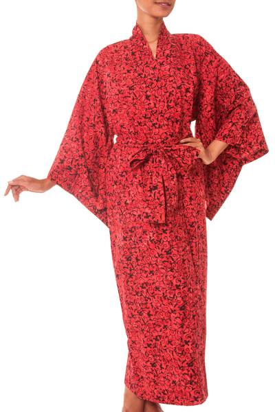 Handcrafted Red Floral Cotton Women