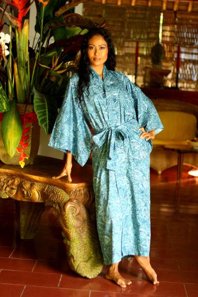 Cotton batik robe, 'Blue Forest' - Artisan Crafted Batik Cotton Robe