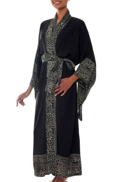 Indonesian Floral Patterned Black and White Robe