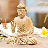 Wood statuette, 'Sitting Buddha' - Hand Carved Wood Sculpture